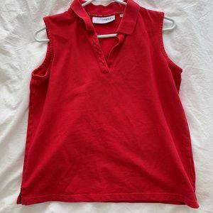 Red sleeveless polo